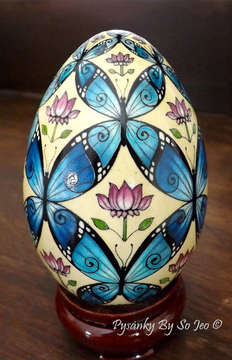 Blue Morpho Butterflies Ukrainian Easter Egg Pysanky By So